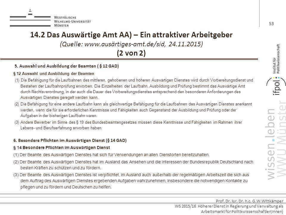 Prof. Dr. iur. Dr. h.c. G.W.Wittkämper WS 2015/16 Höherer Dienst in Regierung und Verwaltung als Arbeitsmarkt für Politikwissenschaftler(innen) 14.2 D