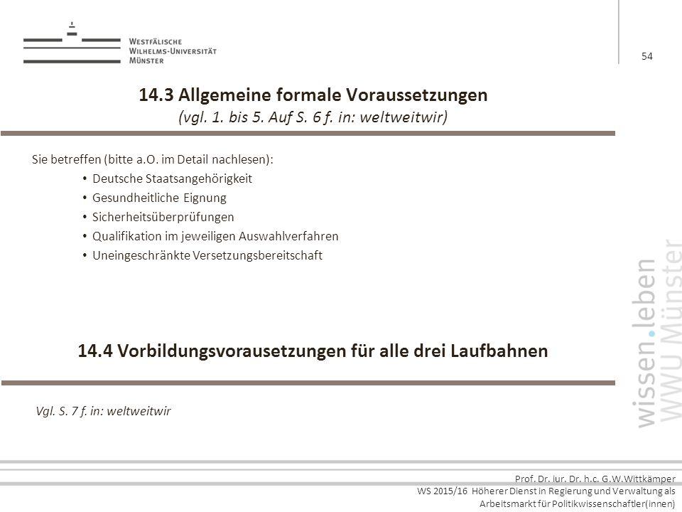 Prof. Dr. iur. Dr. h.c. G.W.Wittkämper WS 2015/16 Höherer Dienst in Regierung und Verwaltung als Arbeitsmarkt für Politikwissenschaftler(innen) 14.3 A