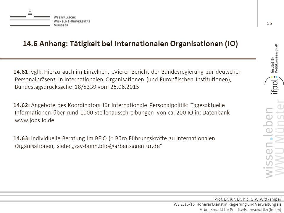 Prof. Dr. iur. Dr. h.c. G.W.Wittkämper WS 2015/16 Höherer Dienst in Regierung und Verwaltung als Arbeitsmarkt für Politikwissenschaftler(innen) 14.6 A