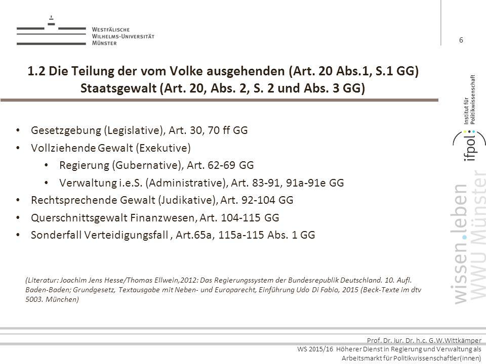 Prof. Dr. iur. Dr. h.c. G.W.Wittkämper WS 2015/16 Höherer Dienst in Regierung und Verwaltung als Arbeitsmarkt für Politikwissenschaftler(innen) 1.2 Di