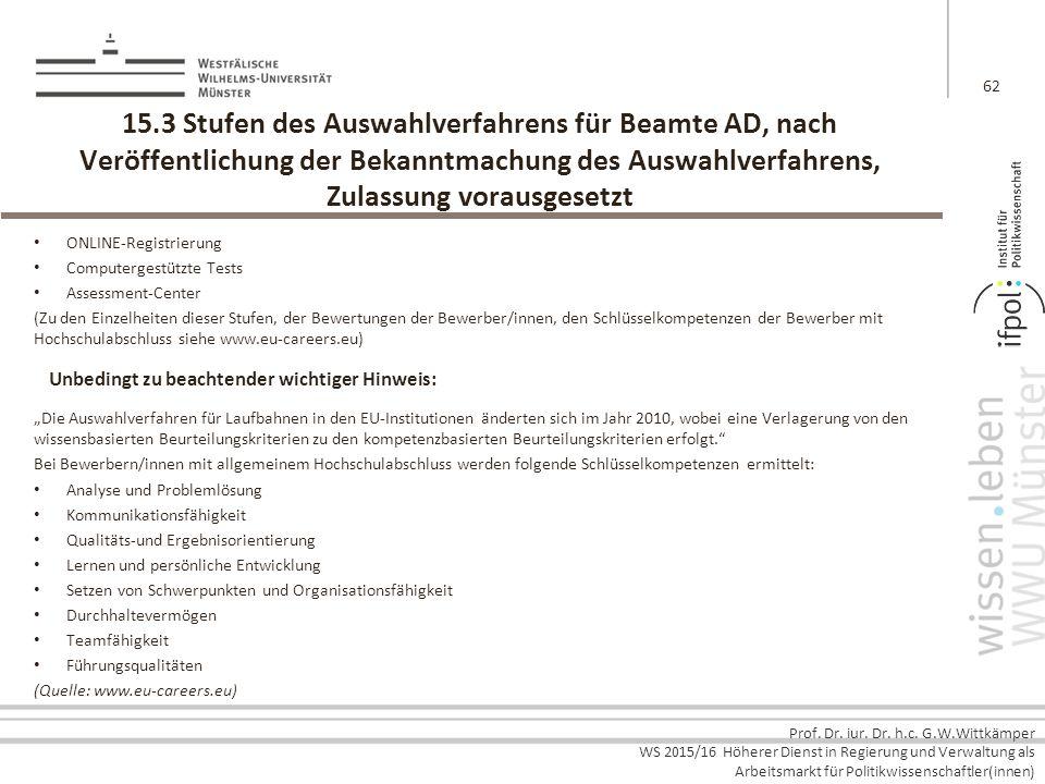 Prof. Dr. iur. Dr. h.c. G.W.Wittkämper WS 2015/16 Höherer Dienst in Regierung und Verwaltung als Arbeitsmarkt für Politikwissenschaftler(innen) 15.3 S