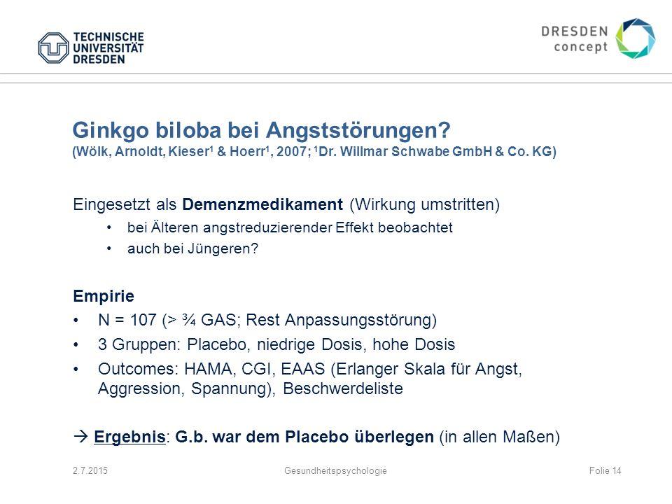 Ginkgo biloba bei Angststörungen? (Wölk, Arnoldt, Kieser 1 & Hoerr 1, 2007; 1 Dr. Willmar Schwabe GmbH & Co. KG) Eingesetzt als Demenzmedikament (Wirk