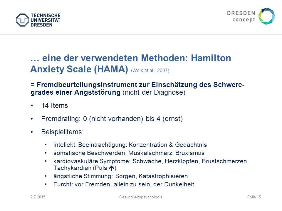 … eine der verwendeten Methoden: Hamilton Anxiety Scale (HAMA) (Wölk et al., 2007) = Fremdbeurteilungsinstrument zur Einschätzung des Schwere- grades
