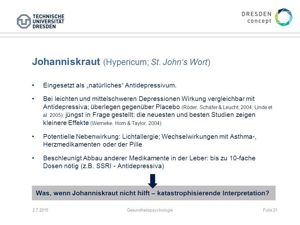 """Johanniskraut (Hypericum; St. John's Wort) Eingesetzt als """"natürliches"""" Antidepressivum. Bei leichten und mittelschweren Depressionen Wirkung vergleic"""