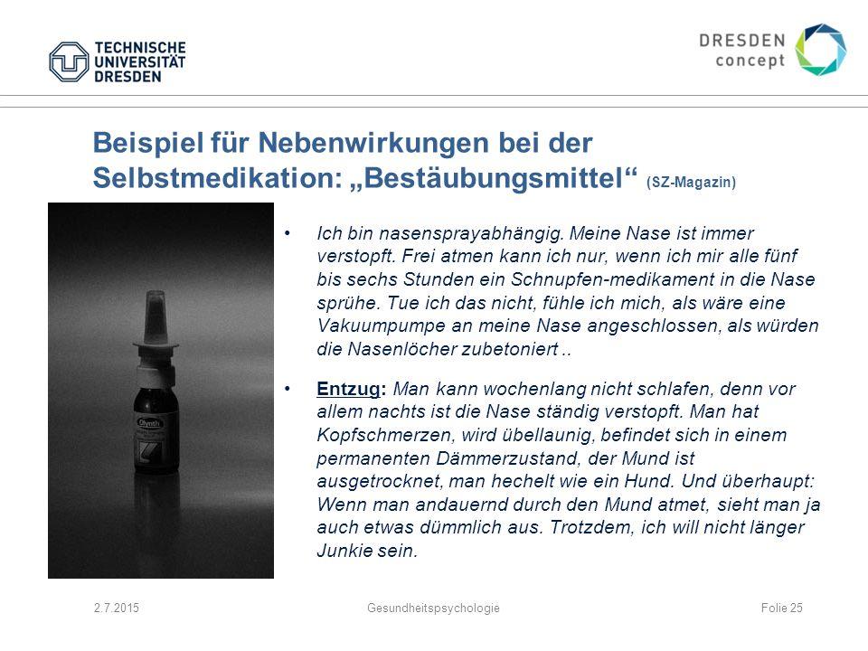 """Beispiel für Nebenwirkungen bei der Selbstmedikation: """"Bestäubungsmittel"""" (SZ-Magazin) Ich bin nasensprayabhängig. Meine Nase ist immer verstopft. Fre"""