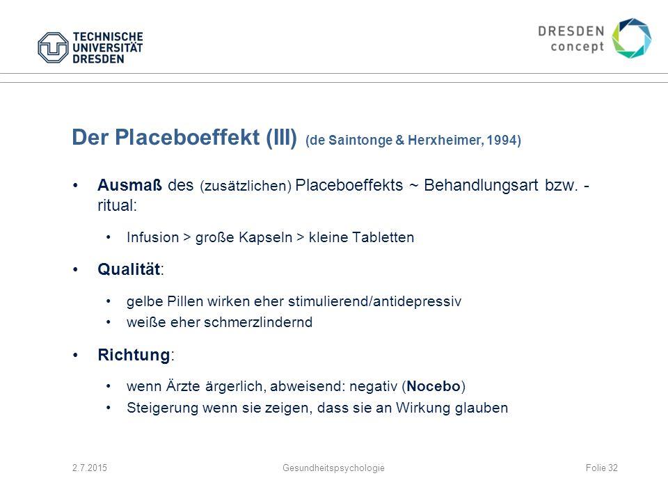 Der Placeboeffekt (III) (de Saintonge & Herxheimer, 1994) Ausmaß des (zusätzlichen) Placeboeffekts ~ Behandlungsart bzw. - ritual: Infusion > große Ka