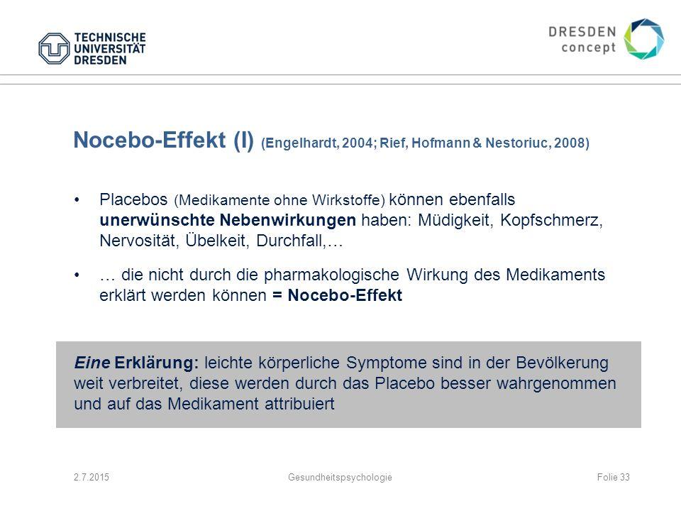 Nocebo-Effekt (I) (Engelhardt, 2004; Rief, Hofmann & Nestoriuc, 2008) Placebos (Medikamente ohne Wirkstoffe) können ebenfalls unerwünschte Nebenwirkun