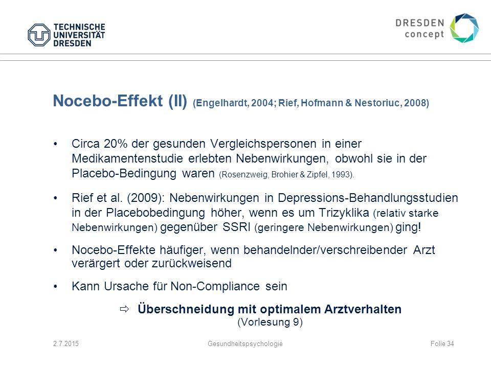 Nocebo-Effekt (II) (Engelhardt, 2004; Rief, Hofmann & Nestoriuc, 2008) Circa 20% der gesunden Vergleichspersonen in einer Medikamentenstudie erlebten
