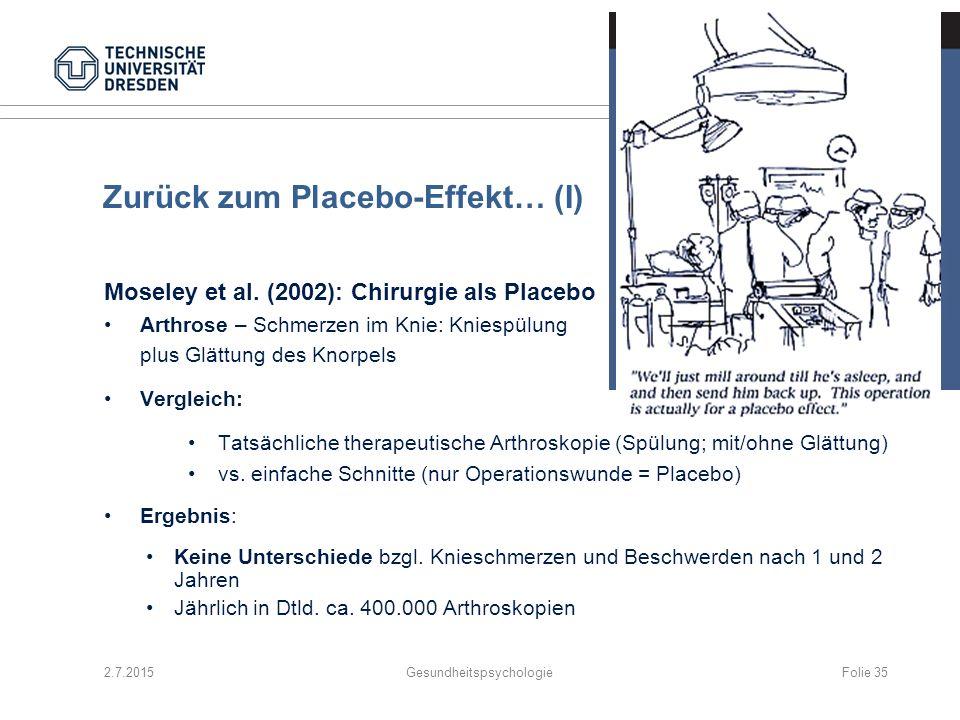 Zurück zum Placebo-Effekt… (I) Moseley et al. (2002): Chirurgie als Placebo Arthrose – Schmerzen im Knie: Kniespülung plus Glättung des Knorpels Vergl