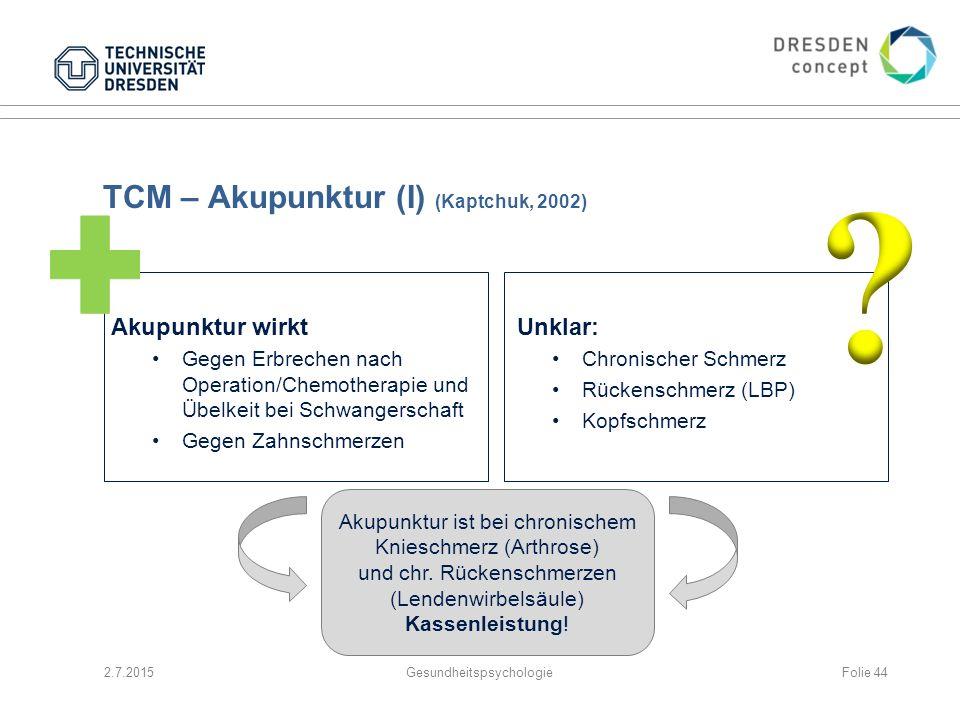 TCM – Akupunktur (I) (Kaptchuk, 2002) Akupunktur wirkt Gegen Erbrechen nach Operation/Chemotherapie und Übelkeit bei Schwangerschaft Gegen Zahnschmerz