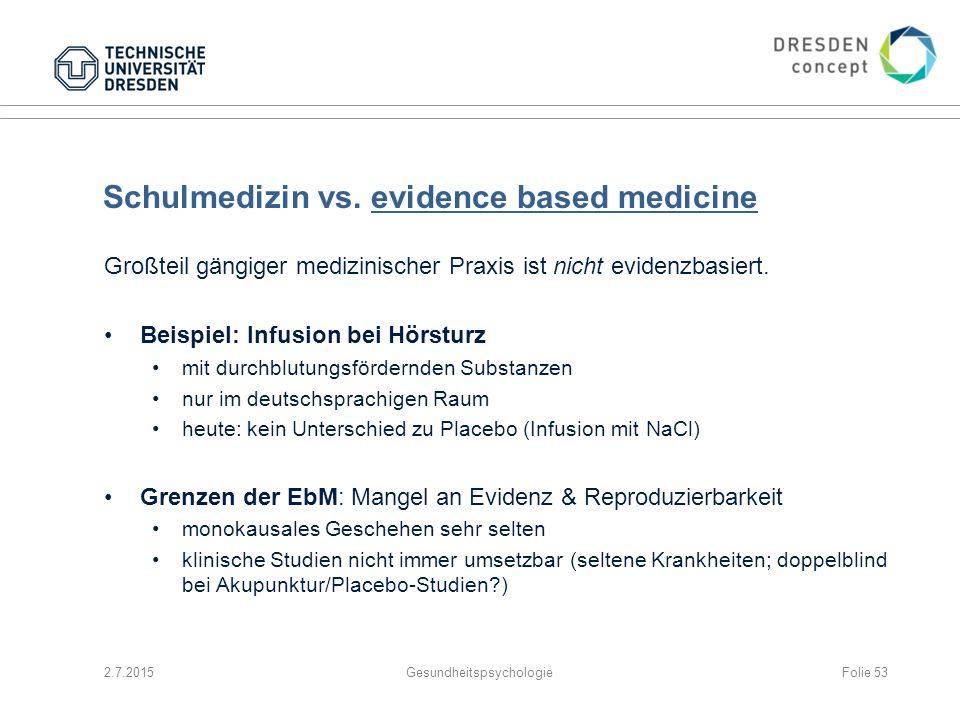 Schulmedizin vs. evidence based medicine Großteil gängiger medizinischer Praxis ist nicht evidenzbasiert. Beispiel: Infusion bei Hörsturz mit durchblu