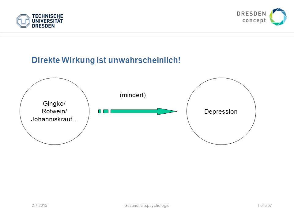 Direkte Wirkung ist unwahrscheinlich! 2.7.2015Gesundheitspsychologie Gingko/ Rotwein/ Johanniskraut... Depression (mindert) Folie 57