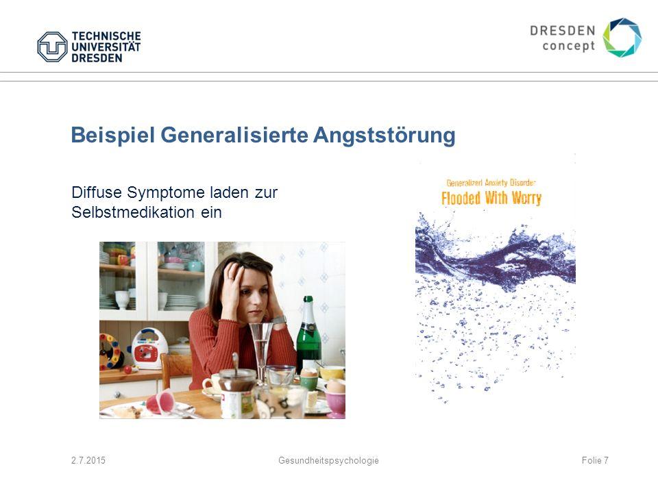 2.7.2015GesundheitspsychologieFolie 7 Beispiel Generalisierte Angststörung Diffuse Symptome laden zur Selbstmedikation ein