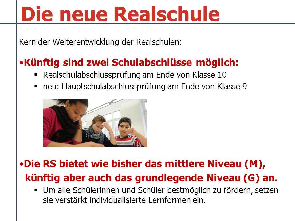 Die neue Realschule … Ziel: Alle Schülerinnen und Schüler können bis zu einem erfolgreichen Abschluss an der Realschule bleiben.