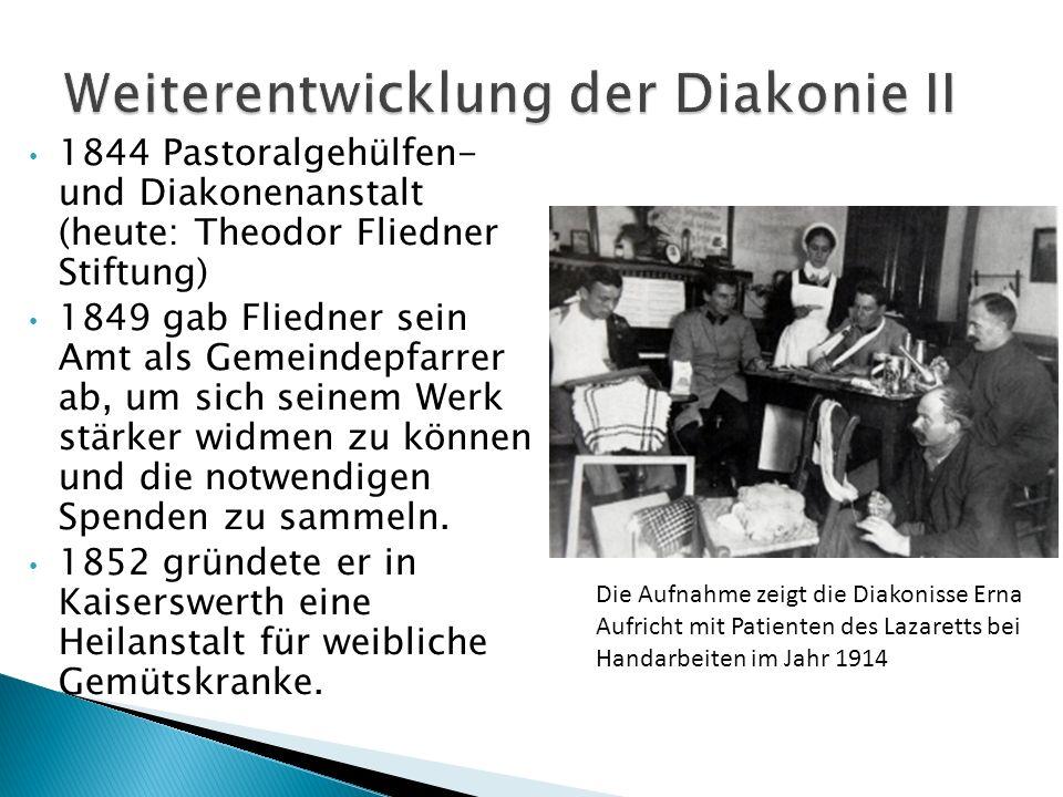 1844 Pastoralgehülfen- und Diakonenanstalt (heute: Theodor Fliedner Stiftung) 1849 gab Fliedner sein Amt als Gemeindepfarrer ab, um sich seinem Werk s