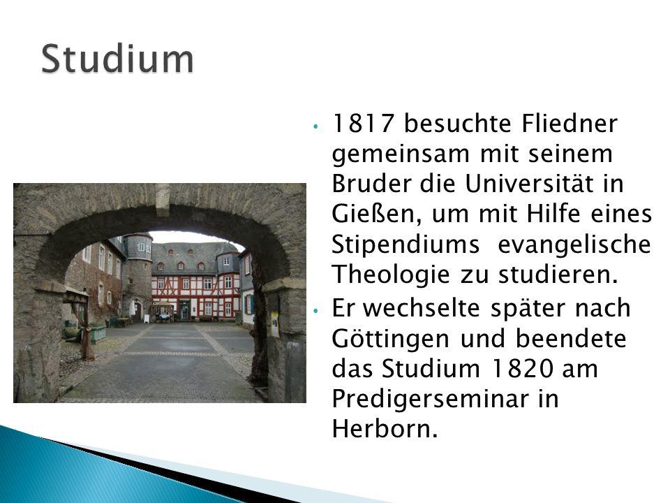1822 Pfarrer in Kaiserswerth bei Düsseldorf.Dort ist viel Arbeitslosigkeit und Armut.