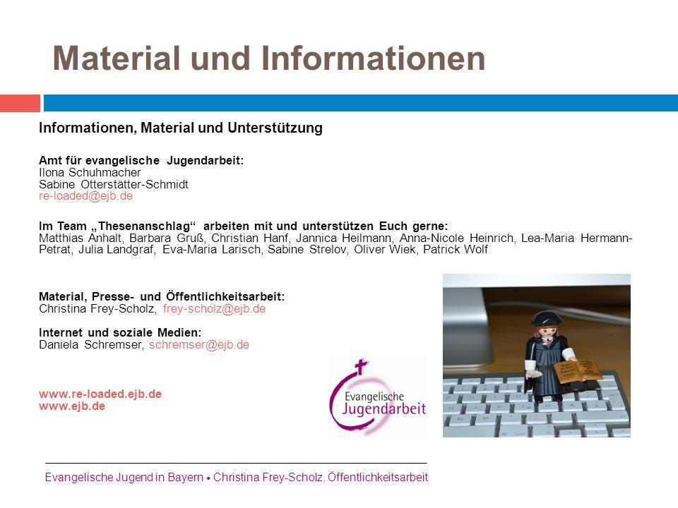 """Informationen, Material und Unterstützung Amt für evangelische Jugendarbeit: Ilona Schuhmacher Sabine Otterstätter-Schmidt re-loaded@ejb.de Im Team """"T"""