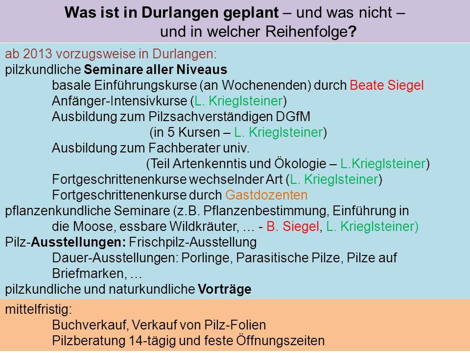 Was ist in Durlangen geplant – und was nicht – und in welcher Reihenfolge? ab 2013 vorzugsweise in Durlangen: pilzkundliche Seminare aller Niveaus bas