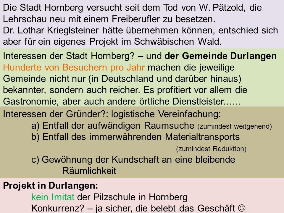 Die Stadt Hornberg versucht seit dem Tod von W. Pätzold, die Lehrschau neu mit einem Freiberufler zu besetzen. Dr. Lothar Krieglsteiner hätte übernehm