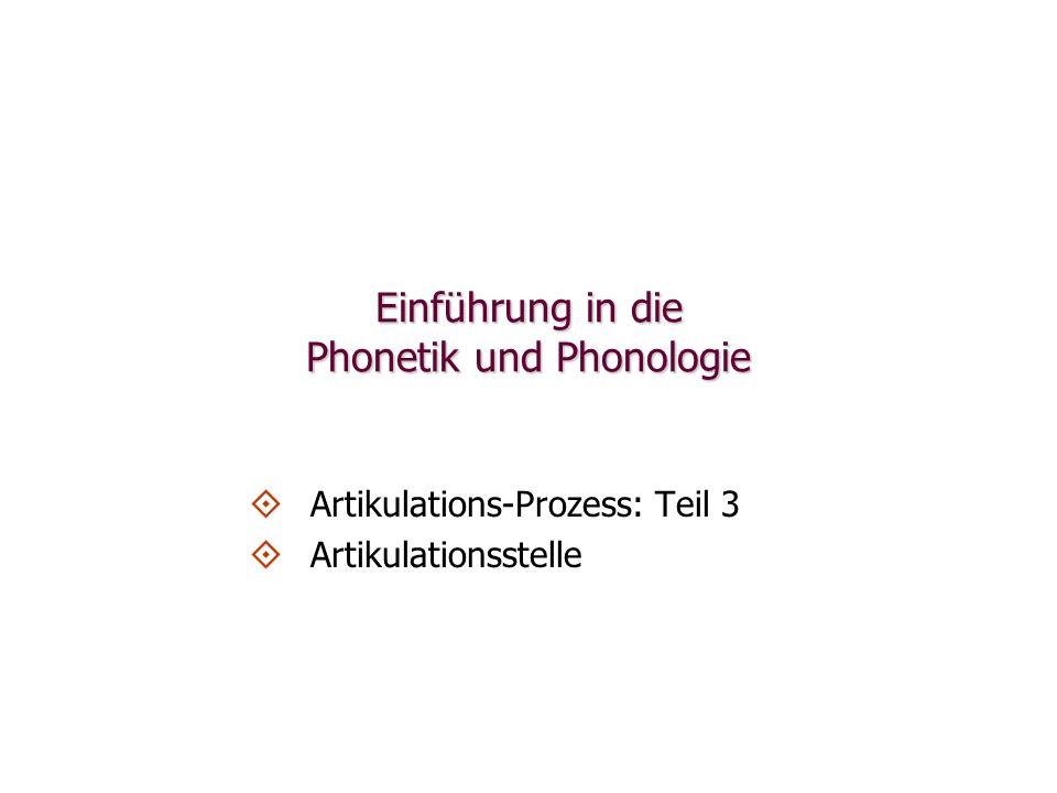 Einführung in die Phonetik und Phonologie   Artikulations-Prozess: Teil 3   Artikulationsstelle