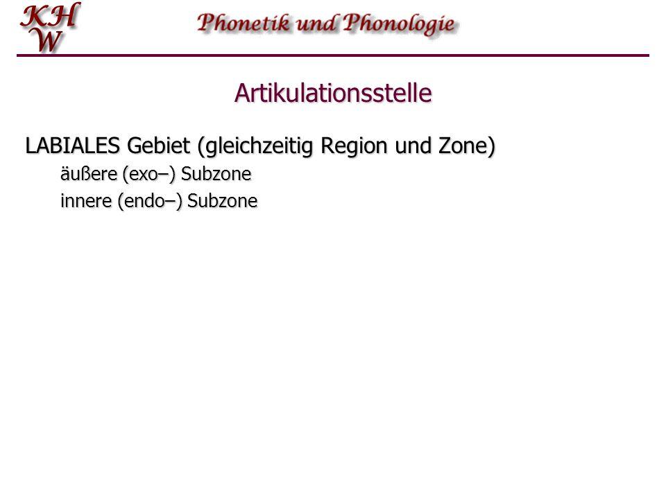 Artikulationsstelle LABIALES Gebiet (gleichzeitig Region und Zone) äußere (exo–) Subzone innere (endo–) Subzone