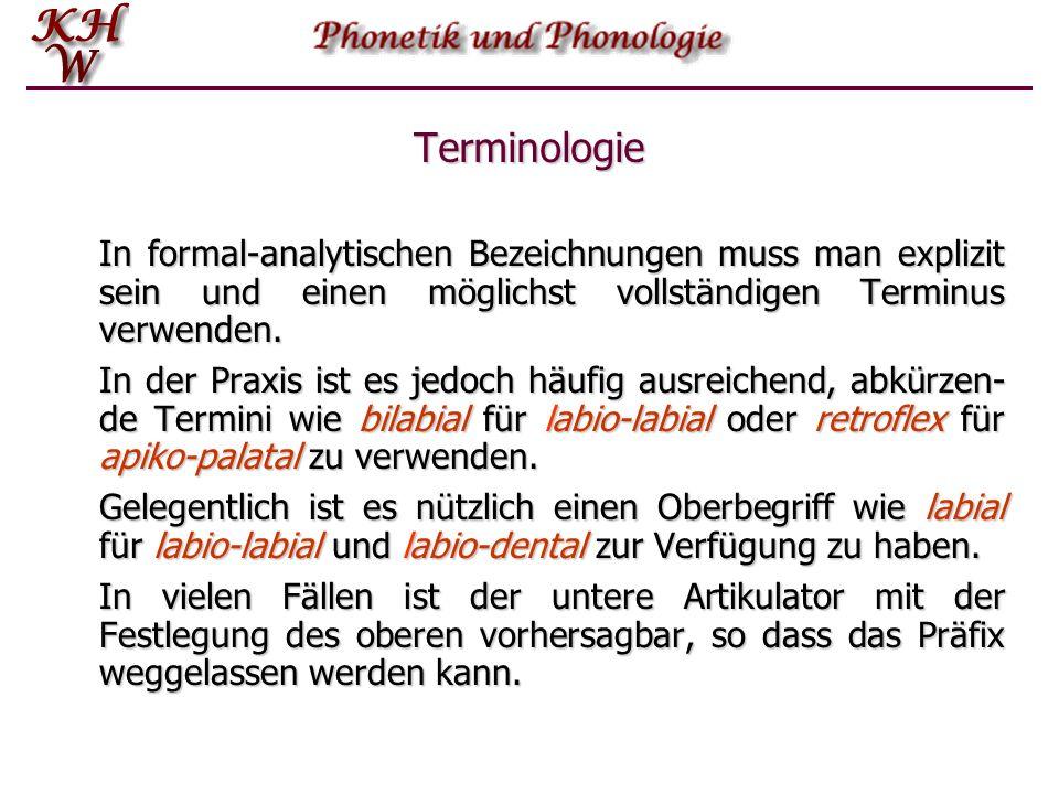 Terminologie In formal-analytischen Bezeichnungen muss man explizit sein und einen möglichst vollständigen Terminus verwenden. In der Praxis ist es je