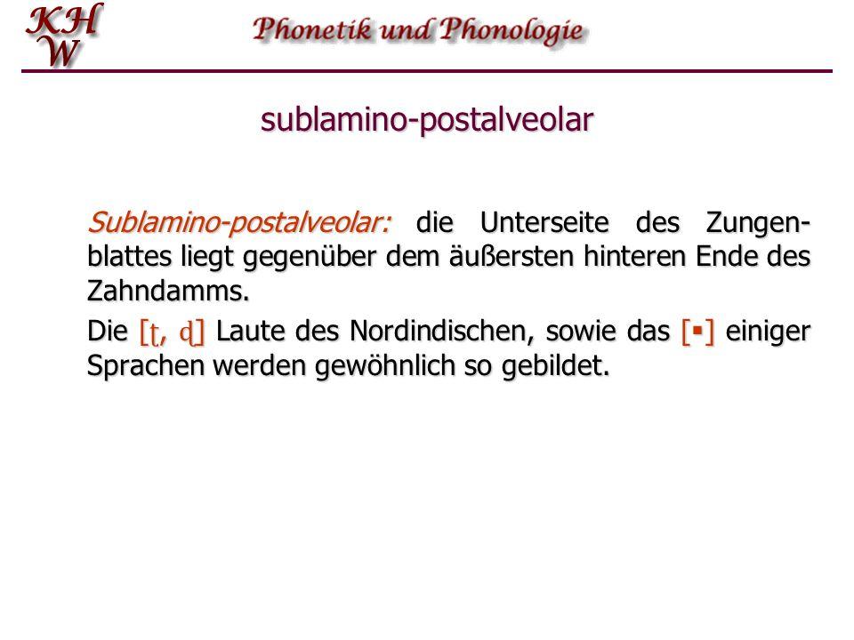 sublamino-postalveolar Sublamino-postalveolar: die Unterseite des Zungen- blattes liegt gegenüber dem äußersten hinteren Ende des Zahndamms. Die [ ʈ,