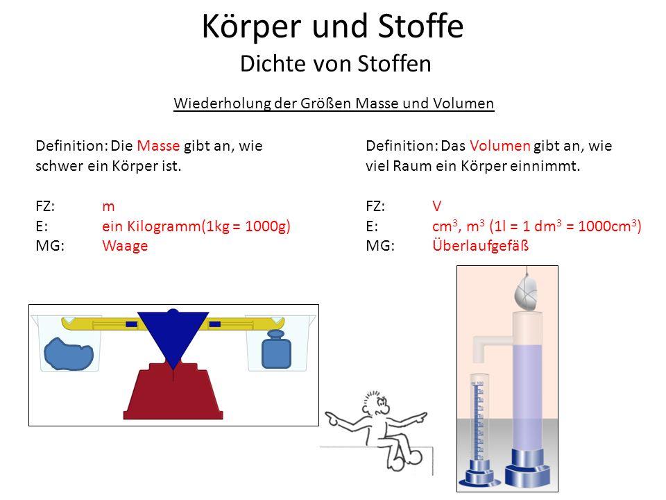 Wiederholung der Größen Masse und Volumen Definition: Die Masse gibt an, wie schwer ein Körper ist. FZ: m E:ein Kilogramm(1kg = 1000g) MG:Waage Defini