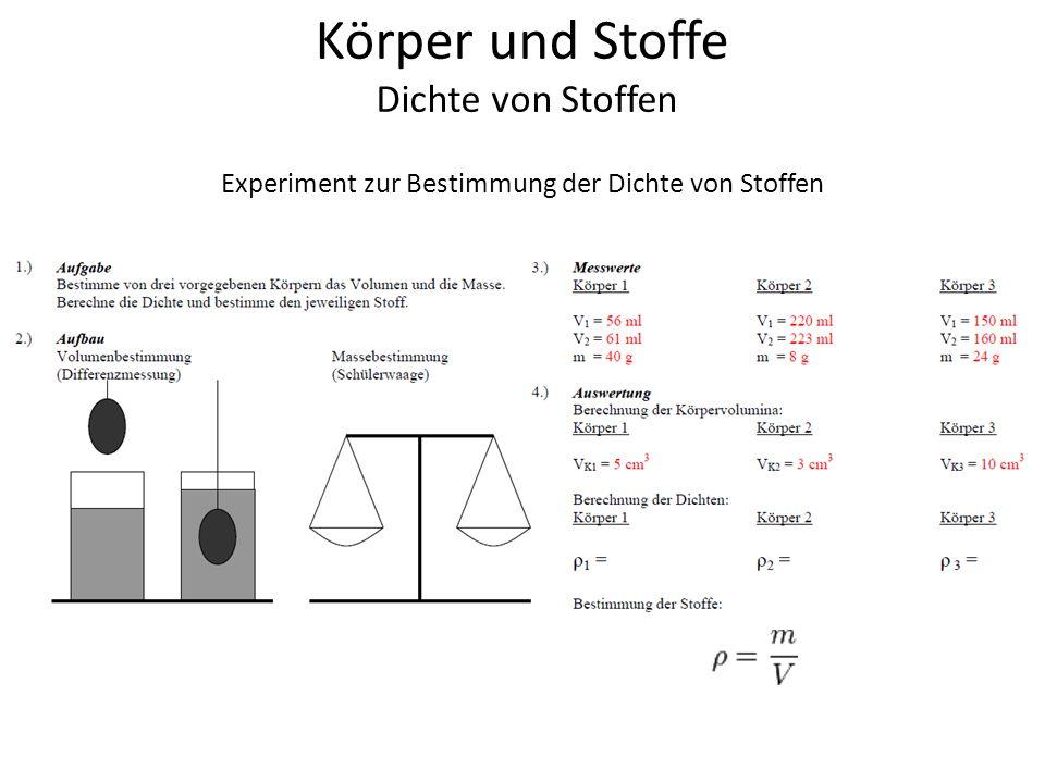 Körper und Stoffe Dichte von Stoffen Experiment zur Bestimmung der Dichte von Stoffen
