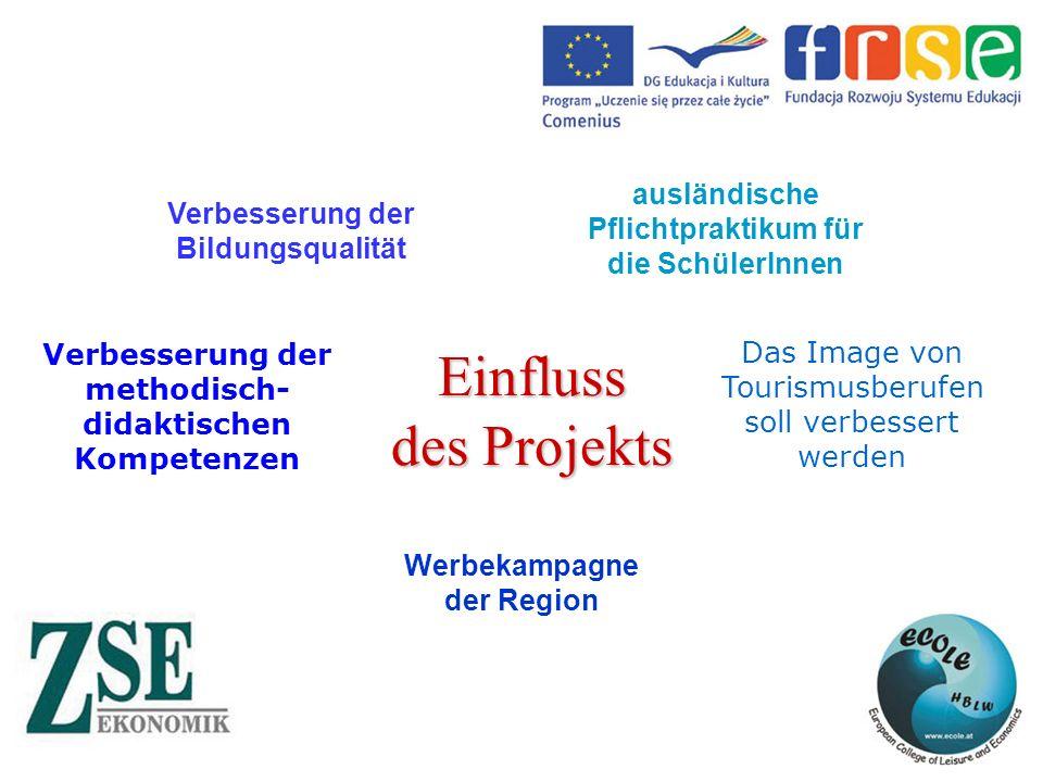 Verbesserung der Bildungsqualität ausländische Pflichtpraktikum für die SchülerInnen Werbekampagne der Region Das Image von Tourismusberufen soll verbessert werden Verbesserung der methodisch- didaktischen Kompetenzen Einfluss des Projekts
