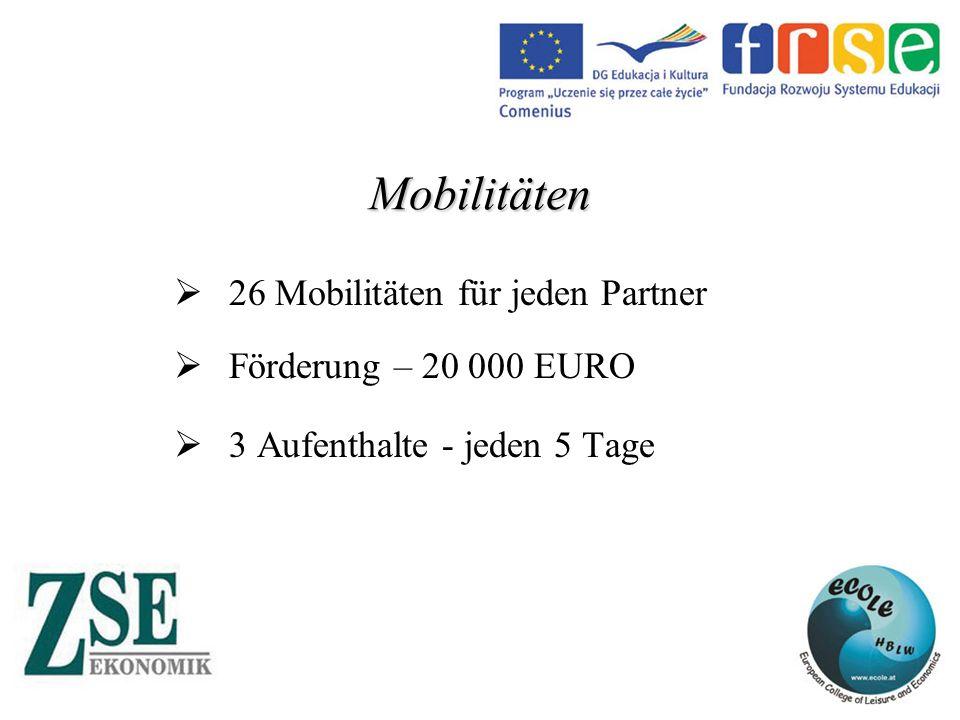 Mobilitäten  26 Mobilitäten für jeden Partner  Förderung – 20 000 EURO  3 Aufenthalte - jeden 5 Tage