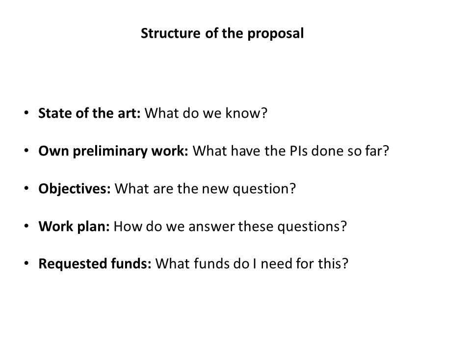 Structure of the proposal State of the art: What do we know? Own preliminary work: What have the PIs done so far? Objectives: What are the new questio