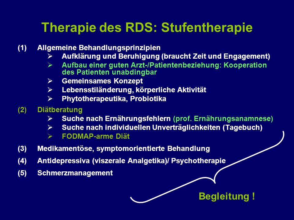 Therapie des RDS: Stufentherapie (1)Allgemeine Behandlungsprinzipien  Aufklärung und Beruhigung (braucht Zeit und Engagement)  Aufbau einer guten Ar