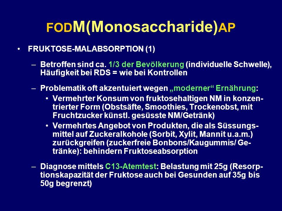 FOD M(Monosaccharide) AP FRUKTOSE-MALABSORPTION (1) –Betroffen sind ca. 1/3 der Bevölkerung (individuelle Schwelle), Häufigkeit bei RDS = wie bei Kont