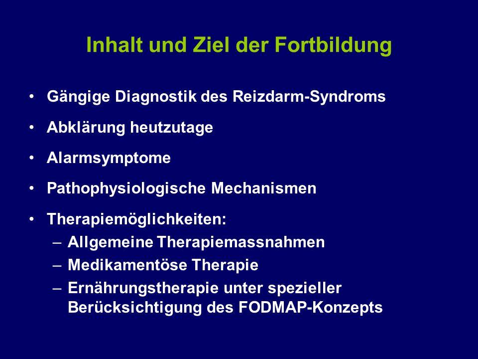 Inhalt und Ziel der Fortbildung Gängige Diagnostik des Reizdarm-Syndroms Abklärung heutzutage Alarmsymptome Pathophysiologische Mechanismen Therapiemö