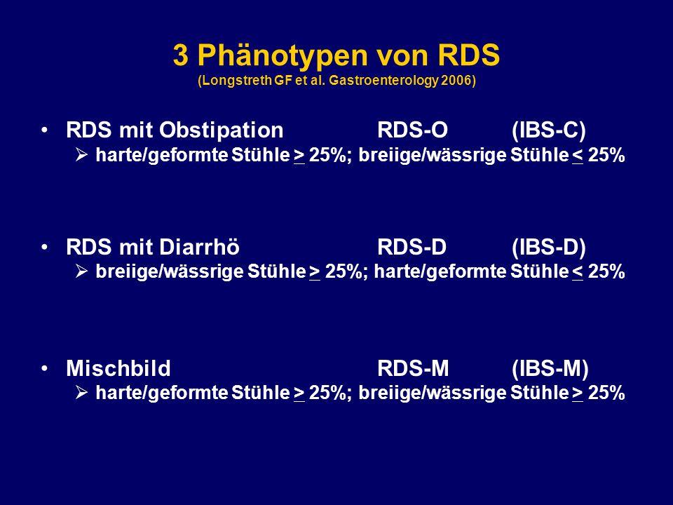 3 Phänotypen von RDS (Longstreth GF et al. Gastroenterology 2006) RDS mit ObstipationRDS-O(IBS-C)  harte/geformte Stühle > 25%; breiige/wässrige Stüh