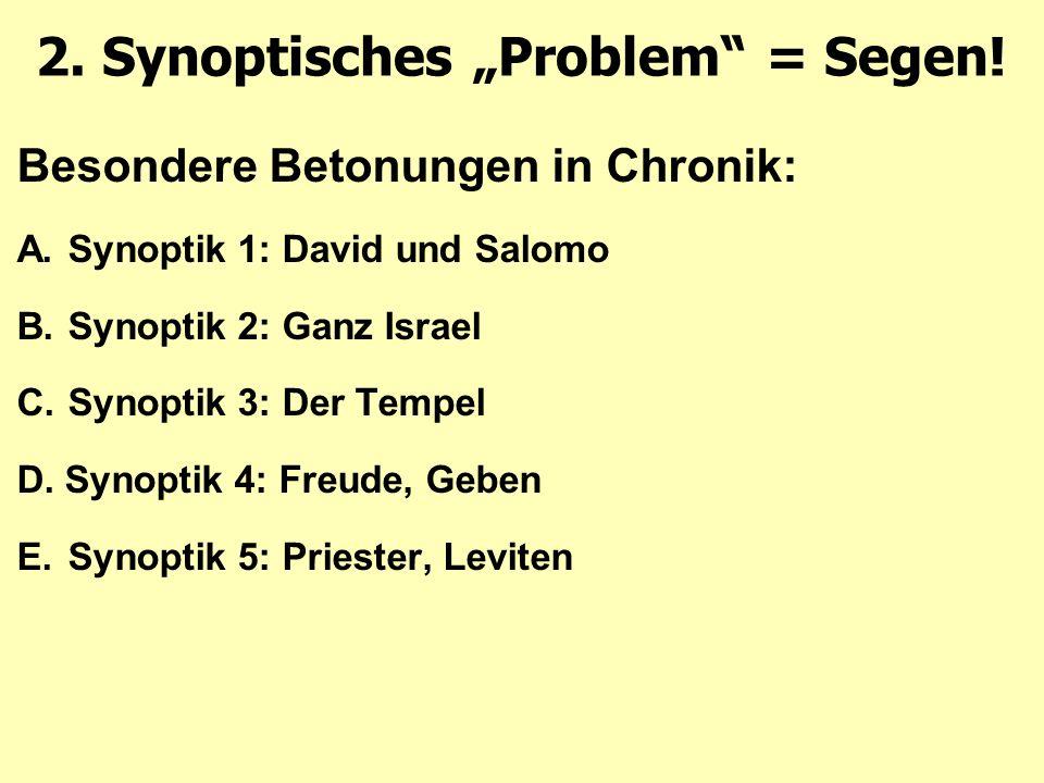Besondere Betonungen in Chronik: A.Synoptik 1: David und Salomo B.Synoptik 2: Ganz Israel C.Synoptik 3: Der Tempel D.