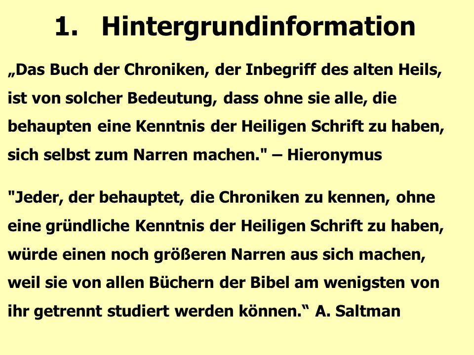 "E:Synoptik 5: Betonung Chroniks: Priester, Leviten 2. Synoptisches ""Problem = Segen!"