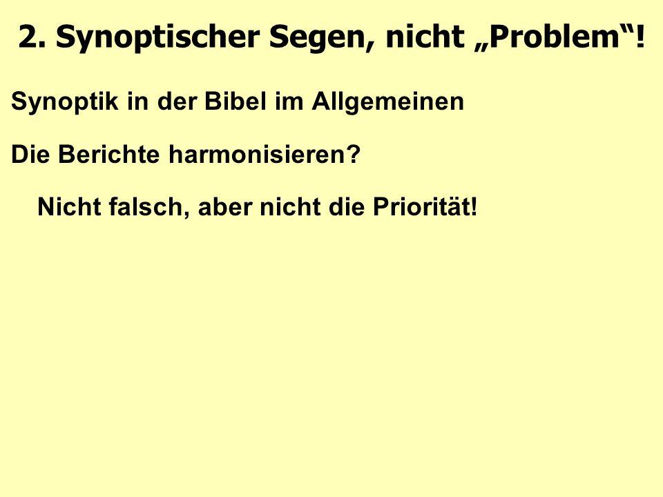 Synoptik in der Bibel im Allgemeinen Die Berichte harmonisieren.