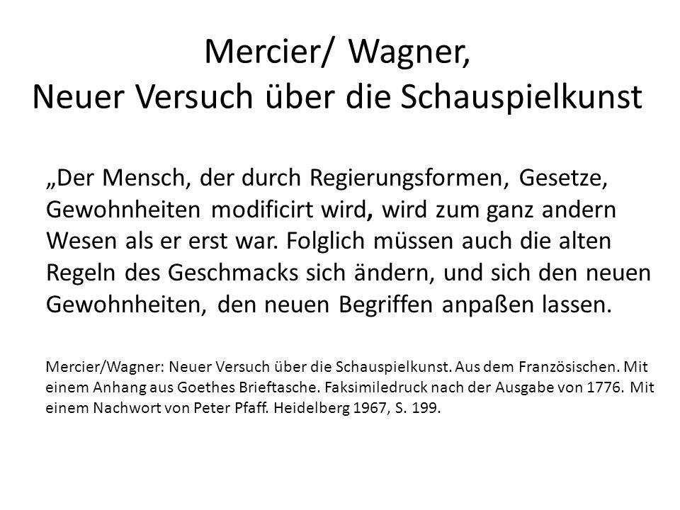 """Mercier/ Wagner, Neuer Versuch über die Schauspielkunst """"Der Mensch, der durch Regierungsformen, Gesetze, Gewohnheiten modificirt wird, wird zum ganz andern Wesen als er erst war."""