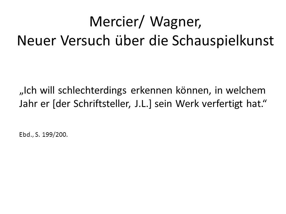 """Mercier/ Wagner, Neuer Versuch über die Schauspielkunst """"Ich will schlechterdings erkennen können, in welchem Jahr er [der Schriftsteller, J.L.] sein Werk verfertigt hat. Ebd., S."""