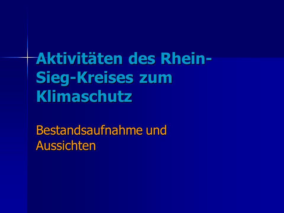 Aktivitäten des Rhein- Sieg-Kreises zum Klimaschutz Bestandsaufnahme und Aussichten