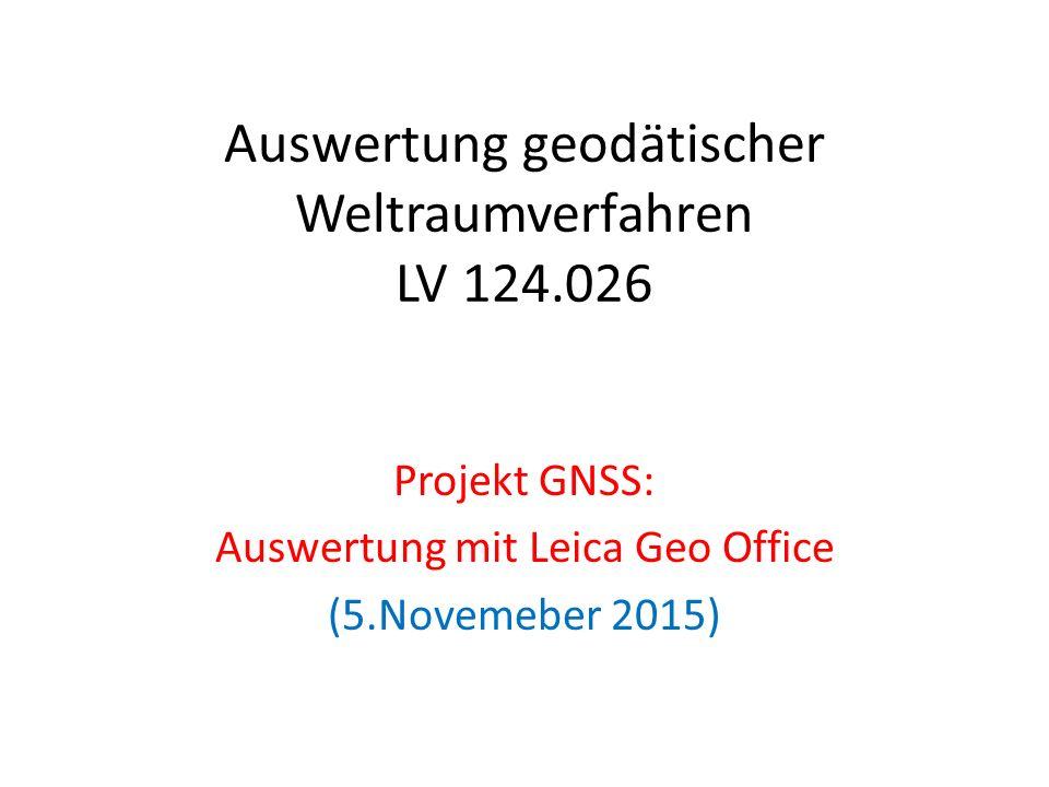 """Auswertung mit Geo Office Neues Projekt anlegen Einlesen der RINEX Daten – Der Referenzstationen Punktklasse auf """"Kontroll setzen – Der gemessenen Punkte – http://amalthea.hg.tuwien.ac.at/~members/AGW_WS15/ http://amalthea.hg.tuwien.ac.at/~members/AGW_WS15/ Download der präzisen Ephemeriden – Extras -> Internetdownload Eingabe der Antennenphasenzentrumsoffsets – z.B Gr1_ATX.txt"""