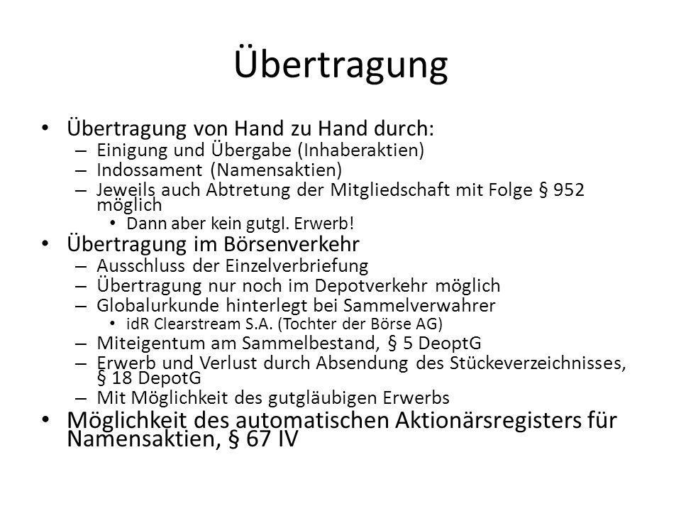 Übertragung Übertragung von Hand zu Hand durch: – Einigung und Übergabe (Inhaberaktien) – Indossament (Namensaktien) – Jeweils auch Abtretung der Mitg