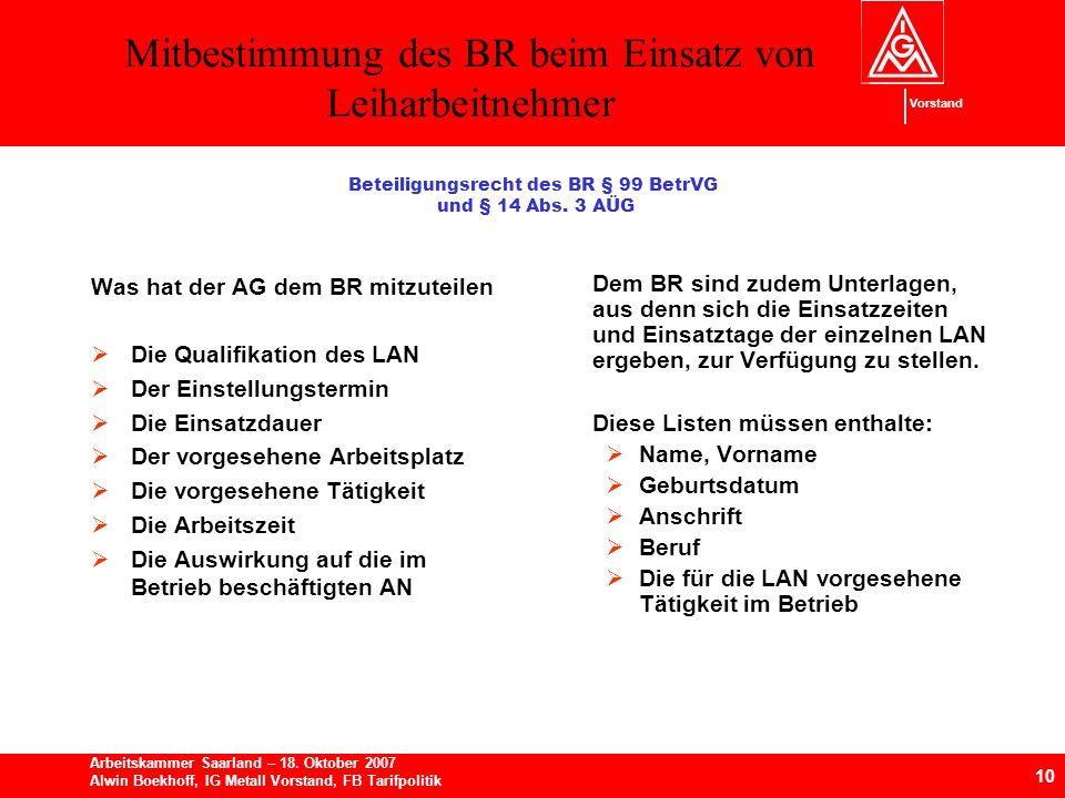 Mitbestimmung des BR beim Einsatz von Leiharbeitnehmer 10 Arbeitskammer Saarland – 18.
