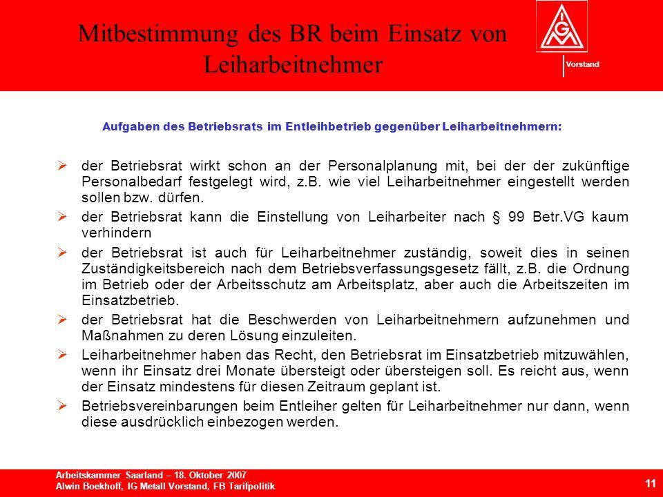 Mitbestimmung des BR beim Einsatz von Leiharbeitnehmer 11 Arbeitskammer Saarland – 18.