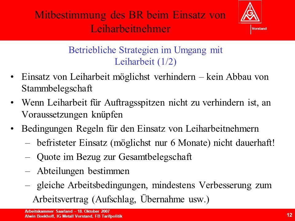 Mitbestimmung des BR beim Einsatz von Leiharbeitnehmer 12 Arbeitskammer Saarland – 18.