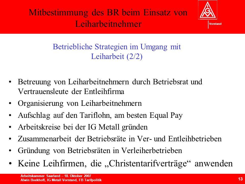 Mitbestimmung des BR beim Einsatz von Leiharbeitnehmer 13 Arbeitskammer Saarland – 18.