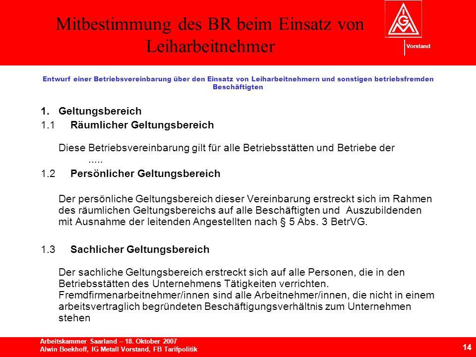 Mitbestimmung des BR beim Einsatz von Leiharbeitnehmer 14 Arbeitskammer Saarland – 18.