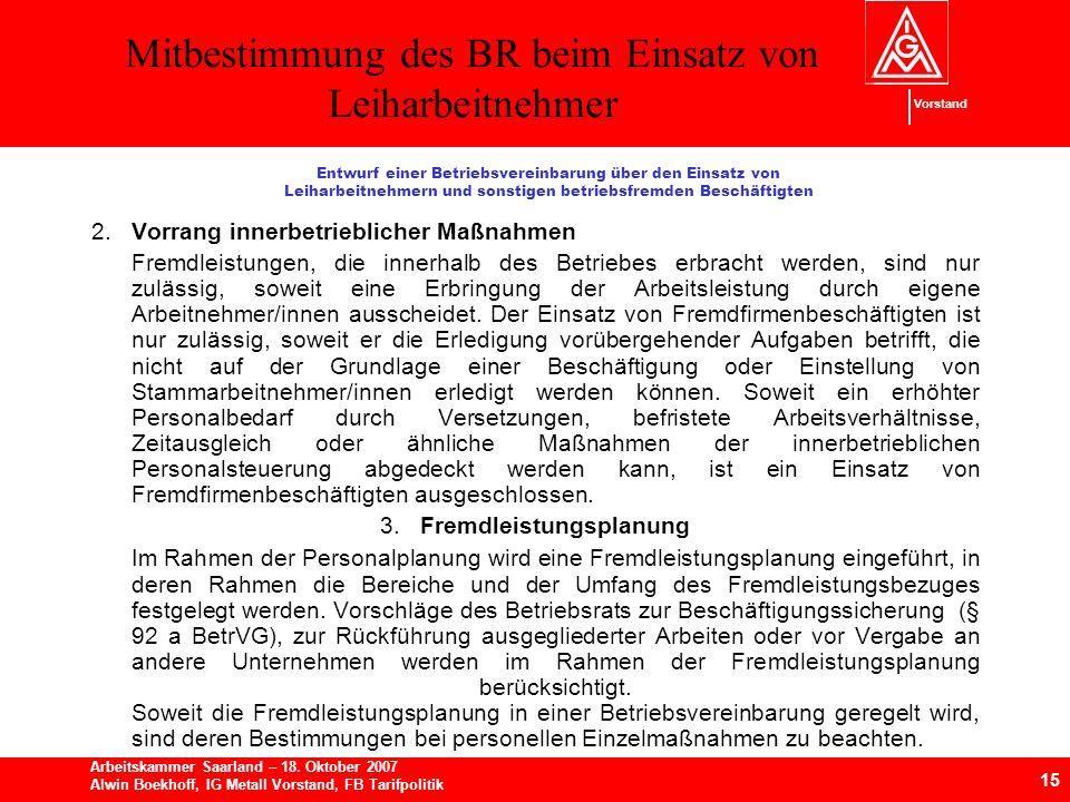 Mitbestimmung des BR beim Einsatz von Leiharbeitnehmer 15 Arbeitskammer Saarland – 18.